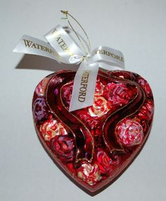 Waterford Holiday Heirlooms Christmas Tree Ornament Glass Red Carnation Heart