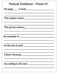 Textual Evidence - Prove it! Worksheet for students.