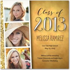 Create your graduation announcement with hints of gold and handwritten typography. Share three of your favorite photos with friends and family!