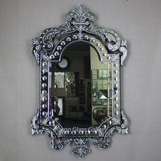 Venetian Glass, Venetian Mirrors, Mirror Cabinet With Light, Distressed Mirror, Mirrored Furniture, Mirror Cabinets, Beautiful Interiors, Bubbles, Glass Craft