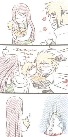 Kushina, Naruto and Minato It's okay Minato. Naruto still loves you.