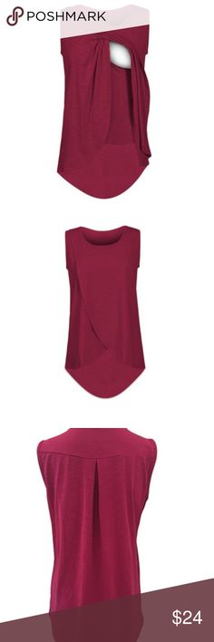 Barcelona Sleeveless Nursing Top for Breastfeeding Barcelona Sleeveless Nursing Top for Breastfeeding by My Bella Mama™  SIZING: SML (2-4), MED (6-8), LRG (10-12)  EASY NURSING: Nurse your baby easily on the go. Made from comfortable and stylish slub jersey fabric  VERSATILE: Dress it up or down with ease. Machine Wash and Dry  QUALITY: Luxuriously Soft and durable fabric: 96% Cotton Slub / 4% Spandex.   COLOR: Plum My Bella Mama Tops Tank Tops