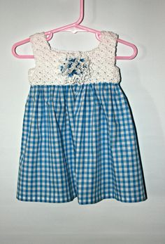 blue gingham baby & toddler crochet top por crochetyknitsnbits, £25.99