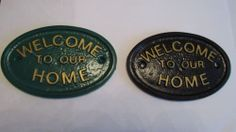 WELCOME TO OUR HOME  HOUSE DOOR PLAQUE SIGN GARDEN LOOKS LIKE BRASS £3.99