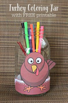 Free Thanksgiving coloring pages and Turkey coloring jar