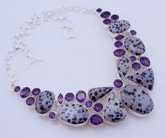 free shipping F-140 Amethyst-Dalmatian Jasper .925 Silver Handmade Jewelry Necklace by SILVERHUT on Etsy