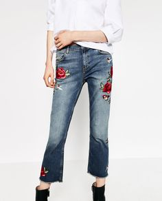 CROPPED EMBROIDERED JEANS-View all-JEANS-WOMAN | ZARA United States