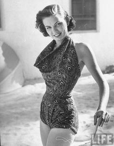 U.S. Model wearing paisley print bathing suit, Florida, May 1950 // Photo by Nina Leen