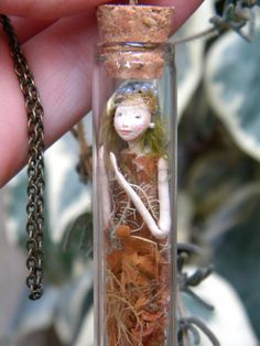 Lady of the Forest - Miniature captured Pixie Fairy in small glass bottle
