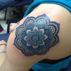 Mandala Flower traditional tattoo by KeelHauled Mike of Black Anchor Tattoo in Denton Maryland | Flickr - Photo Sharing!