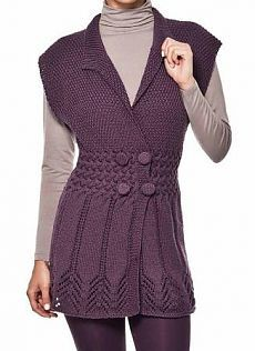 Lilac tunic with buttons, knitting 0 Crochet Woman, Crochet Lace, Baby Knitting Patterns, Knitting Stitches, Knit Vest, Baby Sweaters, Lace Tops, Free Pattern, Clothes