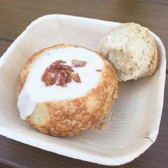 White cheddar ale soup with bacon in a Boudin sourdough mini-Boule - $5.50. #disneyfoodies #dcafoodandwine2016 by disneyfoodies