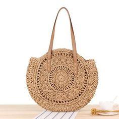 1 Pcs New Fashion Women's Shoulder Bag Woven Bag Beach Straw Bag Bohemian Round Bag Round Straw Bag, Round Bag, Summer Handbags, Straw Handbags, Tote Handbags, Women's Handbags, Woven Beach Bags, Look Boho Chic, Big Tote Bags