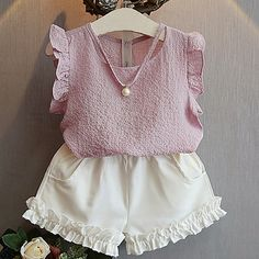 Cheap fashion girl clothing, Buy Quality girls clothing directly from China girls fashion clothing Suppliers: Belababy Girls Clothing Sets 2017 Summer Children 's Fashion Casual Pearl Sleeveless Chiffon Blouse + Shorts Suits Kids Clothes Girls Summer Outfits, Toddler Girl Outfits, Kids Outfits, Toddler Girls, Baby Outfits, Clothes For Kids, Baby Girl Clothes Summer, Dress Outfits, Kids Girls