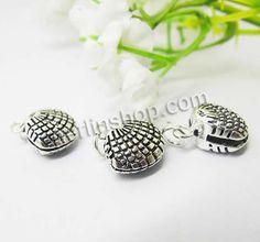 Bali Sterling Silber Anhänger, Thailand, Schale, poliert, 11x11mm, Bohrung:ca. 3mm, 15Stücke/Gruppe, verkauft von Gruppe - perlinshop.com