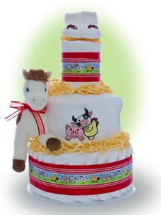 Let the fascination with farm animals begin early with this farm theme diaper cake! Only $67.00