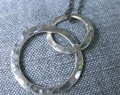 3 Circles Silver Necklace Silver Circle Necklace by LayeringPieces