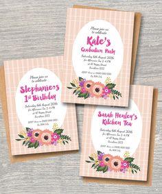 Floral Invite Use For Bridal Shower Kitchen Tea Graduation Party Birthday  Birthday. Invitation With Vintage Flower Design
