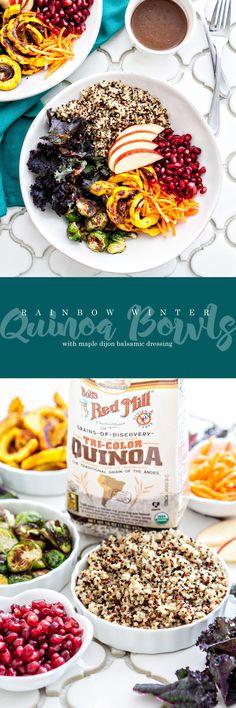 Rainbow Winter Quinoa Bowls with Maple Dijon Balsamic Dressing | AD BobsQuinoa @bobsredmill @goodlifeeats