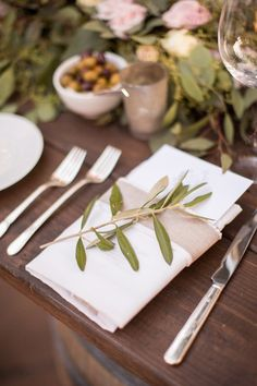 Place setting with greenery