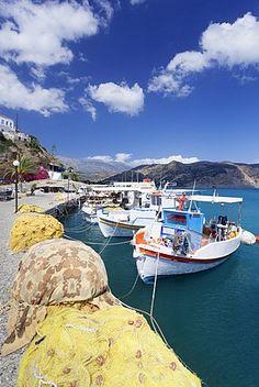 Fishing boats, harbour, Agia Galini, South Coast, Crete, Greek Islands, Greece, Europe