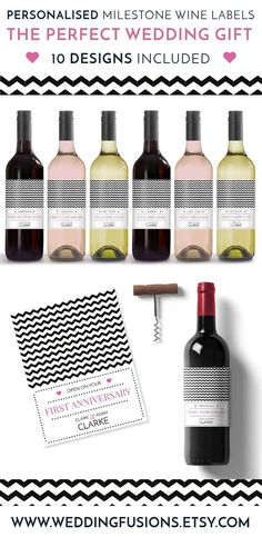 Wedding Gift Idea - Chevron style, wedding wine label printable, a thoughtful gift for the bride & groom and fabulous excuse to pour the wine!
