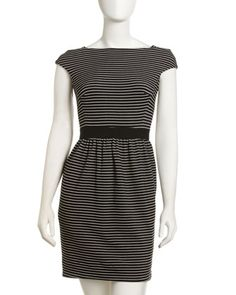 Striped Ponte Dress by Shoshanna at Last Call by Neiman Marcus.