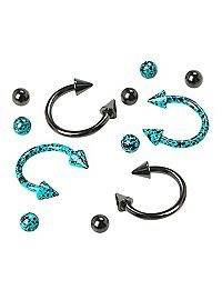 A pair of turquoise splatter steel circular barbells and a pair of black steel circular barbells with matching circle and spike beads. Septum Piercing Jewelry, Septum Nose Rings, Face Piercings, Nose Jewelry, Piercing Tattoo, Dainty Jewelry, Jewellery, Percing Labret, Circular Barbell