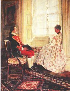 Colonel Washington et Mary Philipse  - illustration en 1896 de Howard PYLE (américain 1853 - 1911)