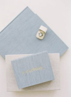 HEIRLOOM BINDERY Fine Art Albums, Books & Presentation for Fine Art Film Photographers | Hand Made Albums in the Old Tradition | Grey Blue Linen Print Boxes in 4.5x6 single and double sizes and 10x10 Album & Heirloom Ring