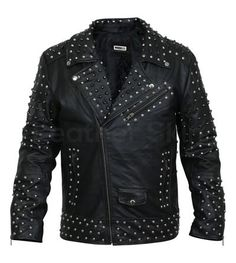 Men Black Cone Spike and Roundhead Studs Leather Jacket Title Spiked Leather Jacket, Long Leather Coat, Leather Jacket With Hood, Leather Skin, Black Leather, Biker Leather, Leather Bags, Best Leather Jackets, Suits
