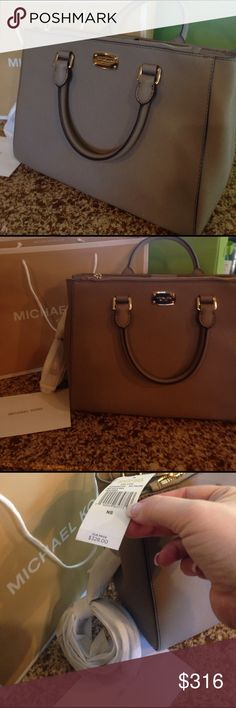 NWT Michael KORS KELLEN BAG NWT.   Medium satchel leather dark taupe.  Kellen.  Hand bag or shoulder strap.  NWT $328.  Why pay tax.  Why go out in the cold.  It will be delivered right to you !!! KORS Michael Kors Bags Satchels