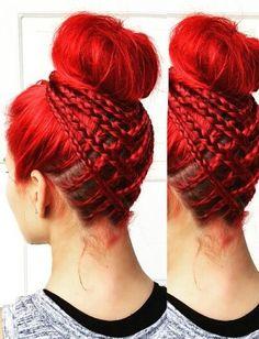 cool Red Braided Bun By @Jbraidsandboys On Instagram... by http://www.dana-haircuts.xyz/scene-hair/red-braided-bun-by-jbraidsandboys-on-instagram/