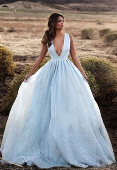 Lurelly sexy blue v-neck wedding dress - Deer Pearl Flowers / http://www.deerpearlflowers.com/wedding-dress-inspiration/lurelly-sexy-blue-v-neck-wedding-dress/