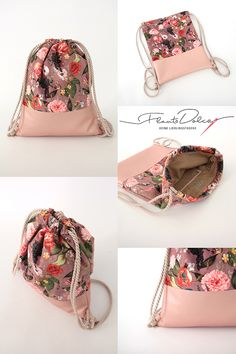 Handgefertigter Turnbeutel aus Samt mit Blumen This great gym bag accompanies you everywhere. Whether festival, party, concert or shopping - with this trend piece you are the absolute eye-catcher! Mochila Tutorial, Backpack Tutorial, Making Fabric Flowers, Fabric Bags, Sewing Projects For Beginners, Handmade Bags, Sewing Crafts, Gym Bag, Purses