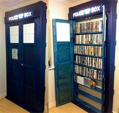 For my Dr. Who friends - TARDIS Bookcase... :)  This would be even better if the inner shelf unit swung in to reveal a large library room, much bigger than the exterior of the Tardis.  ;-)