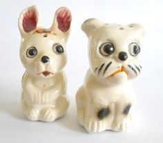 Vintage Puppies Salt and Pepper  1940s by heartseasevintage on etsy