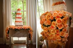 stunning peach colored things | Our Kate Buffet under a sea of roses. Greer G Photography .