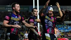 North Queensland Cowboys engineered a Great Escape in Townsville against Manly Sea Eagles on Saturday night, stealing an 18-14 victory at the death. Gavin Cooper scored the winning try against Manly in Townsville. 31/05/2015
