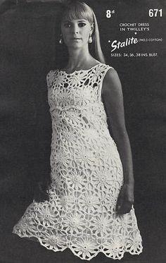 Vintage Retro Crochet Dress Pattern PDF No222 From by TimelessOne, $2.99