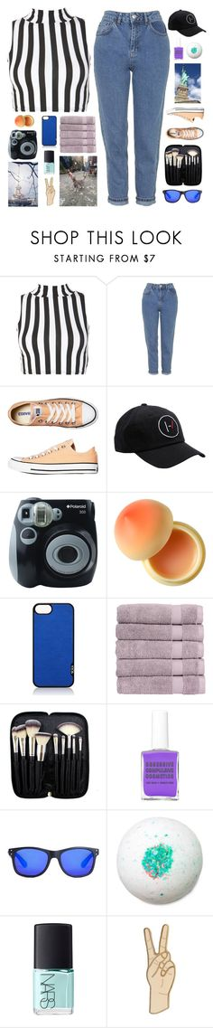 """☾ we are golden because we're alive"" by thundxrstorms ❤ liked on Polyvore featuring Topshop, Converse, Prada, Polaroid, Tony Moly, Tumi, Christy, Morphe, Obsessive Compulsive Cosmetics and Local Supply"