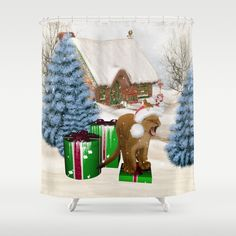Christmas, Cute little lion with gifts Shower Curtain by Button Hole, Curtain Rods, Shower Curtains, Shower Gifts, Hooks, Artists, Christmas Ornaments, Printed, Bathroom