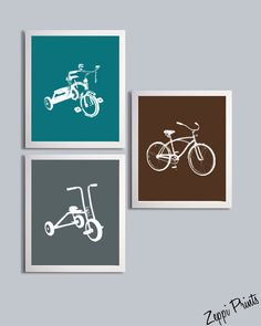 Boys Nursery Art Tricycles and Bicycle set of 3 each 11x14 brown gray teal sl6. $48.00 USD, via Etsy.