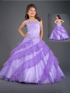 lilac girl's pageant dress