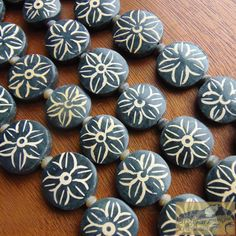 Painted Jade Flower Bead Strand 20 mm Black by AfghanTribalArts