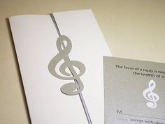 Wedding Invitations Treble Clef Clic Music Cutout By Naboko