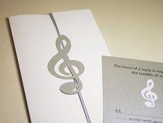Wedding Invitations, Treble Clef, Classic Music, Cutout, Scrapbook, Papercut by Mama Tita
