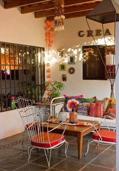 courtyard - Via La Maison Boheme and Casa Chaucha Casa Chaucha. Location: Santa Fe Province of Argentina. Outdoor Rooms, Outdoor Living, Outdoor Decor, Indoor Outdoor, Sweet Home, Home Deco, Interior And Exterior, Interior Design, Deco Design