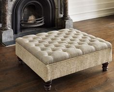 Storage footstool with buttoned lid