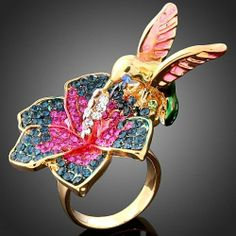 ARINNA Swarovski Crystal Lovely Humming Bird flower Gold Plated finger Ring